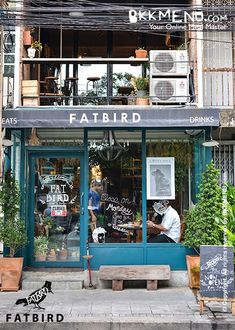 It's called Fatbird! Don't you have to find out what they are serving? Coffee Shop Design, Cafe Design, Store Design, Restaurant Design, Restaurant Bar, Shop Facade, Café Bar, Lokal, Small Cafe