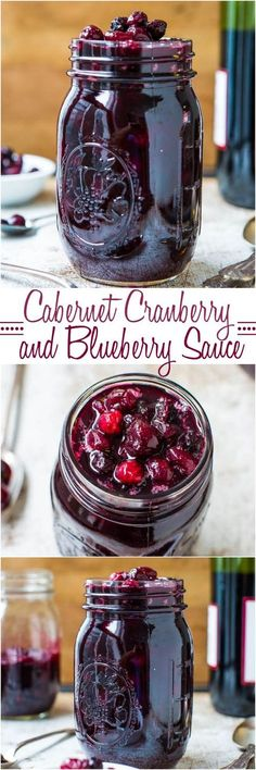 Cabernet Cranberry & Blueberry Sauce - Move over boring cranberry sauce! Cranberries are so much better with blueberries & wine! Make your own sauce in 30 minutes and so easy!