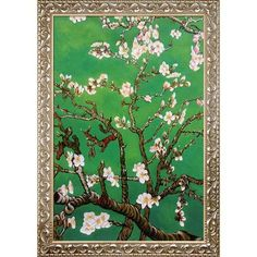 Tori Home Branches of an Almond Tree in Blossom by La Pastiche Framed Original Painting in Emerald Green