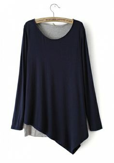 Navy Blending Round Neck Long Sleeve Plain Patchwork TOPS
