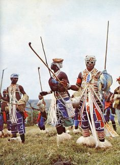 South Africa's Xhosa people are known for their intricate bead work. The heavy use of lines, angularity and the color white in their dress gives it a look that is both traditional and futuristic.