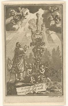 Gerrit Lambrechtsz   Vrouw in aanbidding voor een brandend hart, Gerrit Lambrechtsz, Jacobus Verheyde (I), 1715   Een vrouw blikt in vervoering naar boven en aanbidt het brandend hart, symbool van goddelijke liefde. Naast haar zitten twee engelen met een muziekblad en een harp. In de hemel zijn engelen verschenen.