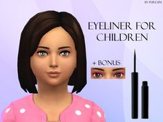 The Sims Resource: Eyeliner For Children by PureSim • Sims 4 Downloads