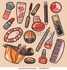 Set of cosmetics objects, vector stickers