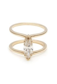 "Brides.com: . ""Attelage"" marquise solitaire engagement ring, $7,000, Anna Sheffield"
