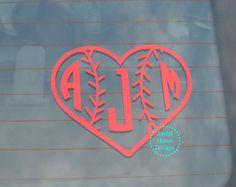 Personalized Baseball Heart Monogram - Car or Laptop Decal