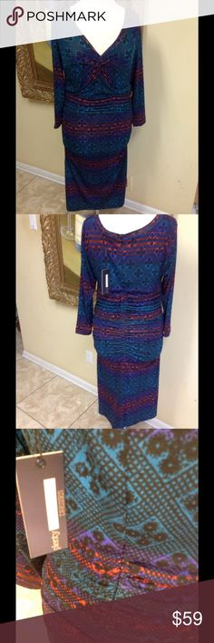 Tracy Reese Print Dress NWT Stunning print dress by Plenty Tracy Reese size  L NWT Anthropologie. Great style, stretch fabric, ruched neck and back, beautiful colors, low price. Plenty by Tracy Reese Dresses Midi