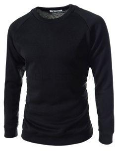 (YR09-BLACK) Slim Fit 2 Tone Round Neck Napping Knit Long Sleeve Tshirts
