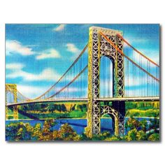 A colorful reproduction of a 1940's vintage linen postcast featuring the George Washington Bridge in New York City with the Palisades in the background. What a cool item to send to friends and loved ones! Our images are print-quality and photographed at high resolution. This assures that your items will print with the highest quality possible. Reproduction Copyright © Vintagerie Ephemera Ye Olde Curio Shoppe.