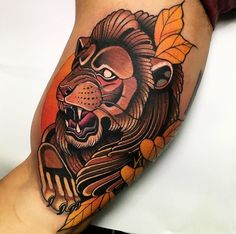 Neo Traditional Lion tattoo by Andre. Limited availability at Salvation Tattoo Studios. Traditional Tattoo Animals, Traditional Tattoo Man, Best Tattoos For Women, Tattoos For Guys, Cool Tattoos, World Famous Tattoo Ink, Famous Tattoos, Lion Tattoo Design, Tattoo Designs