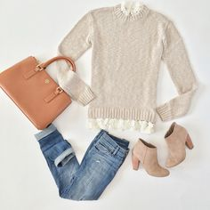 Outfit Layout - Forever 21 lace hem sweater and Tory Burch mini Robinson