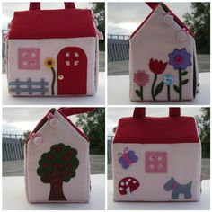 Flickr group for photos of carry-along doll houses Little Fabric House mosaic by LittleBlackDuck, via Flickr