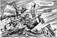 David Cameron's last stand. Satirical Cartoons, Political Cartoons, Last Stand, David Cameron, Political Art, Satire, Fictional Characters, Stuff Stuff, Sarcasm