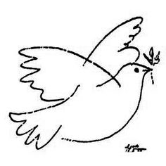 picasso dove of peace - Google Search                                                                                                                                                                                 More Picasso Dove Of Peace, Peace Dove, Dove And Olive, Doodle, Church Banners, Small Quilts, Little Birds, Music Notes, Line Drawing