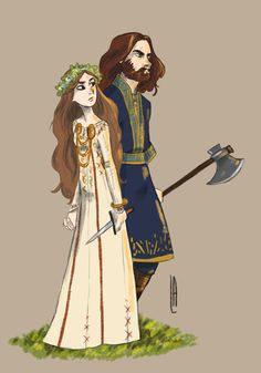 Gisla in a Dane dress and Rollo in a frankish tunic. GODS HELP ME I LOVE THEM SO MUUUUCH!!!