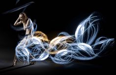 Atton Conrad, Dresses Made Out of Light, Epistrophy, Light Painting, Modern Design, Blue Waves and Yellow