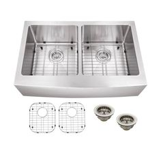 All-in-One Apron Front Stainless steel 33 in. Double Bowl Kitchen Sink, Brushed Satin