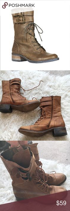 Steve Madden Mix-Up Combat Boots With Steve Madden's MIX-UP combat boots sophisticated styling and all ' you'll be (battle) ready for whatever today or tomorrow has in store, even if it is just to fight off your morning wardrobe woes. This rustic-turned-rocker boot features mini studs along back of heel with a sleek lace-up silhouette and dual buckle tab closure. Leather upper material. Man made sole. Man made lining. 1.5 inch heel height. 8 inch shaft height. 11 inch shaft circumference. In…