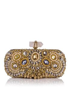 Lily Medium Embroidered Crystal Clutch, Gold by Marchesa at Bergdorf Goodman.