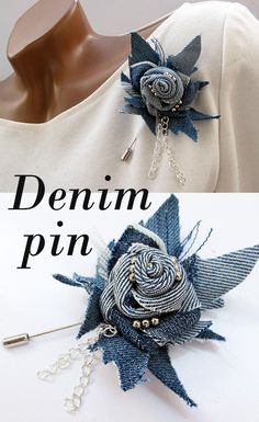 Your place to buy and sell all things handmade Denim Flowers, Cloth Flowers, Fabric Flowers, Reuse Jeans, Fabric Brooch, Denim Crafts, Diy Crafts Jewelry, Clothing And Textile, Recycled Denim