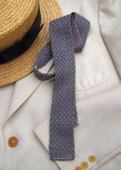 Vtg Unused OS Skinny Gray Crochet Rayon Knit Mens Tie Preppy 1950s 60s Preppy | eBay