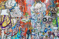 """Image of Takashi Murakami """"In the Land of the Dead, Stepping on the Tail of a Rainbow"""" @ Gagosian Gallery New York"""
