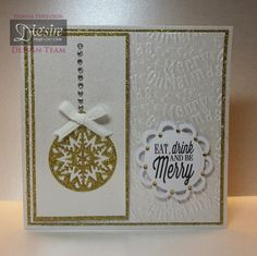 Crafter's Companion; Classique Christmas Collection Snowflake Bauble die Christmas Merriment Folder Christmas Sentimental Stamps Waltz Frame Centura Pearl Card