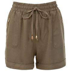 Khaki Drape Shorts ($23) ❤ liked on Polyvore