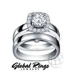 0.86 ct Caro 74 Round Cut Diamond Bridal Wedding Ring Set 14K White Gold F-G