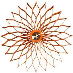 #orange sunflower clock #vintage