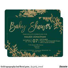Gold typography leaf floral green baby shower invitation