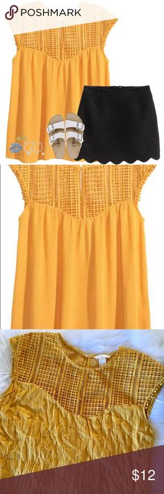 H&M Crochet Blouse Beautiful mustard yellow Blouse with Crochet detailing and key hole back. In perfect condition. Size 14. Shell: 100% Viscose // Lace: 100% Polyester H&M Tops Blouses