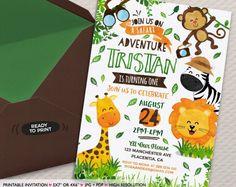 Invitación del cumpleaños del Safari invitación de Safari imprimible de DIY de la selva animales invitan fiesta de cumpleaños de Safari