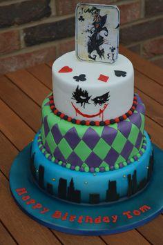 Joker cake for a Joker themed birthday party.   www.cakesbynicola.com