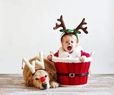 クリスマスにサンタの衣装を着る子どもとトナカイ風犬のイメージ画像