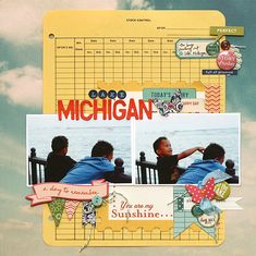 multiple clusters - leah farquharson - lake michigan - Creative Team Layouts - Gallery - Get It Scrapped 12x12 Scrapbook, Scrapbook Page Layouts, Travel Scrapbook, Scrapbooking Ideas, Multi Picture, Creative Inspiration, Life Inspiration, Creative Memories, Lake Michigan