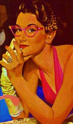 Tura Eyewear 1950s ad--Librarians on vacation