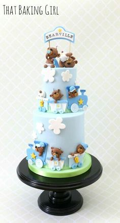 Baby bear cake for boy baby shower