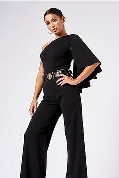 4fc7bb5570f7 Womens   Black One Shoulder Cape Jumpsuit By Club L - Black