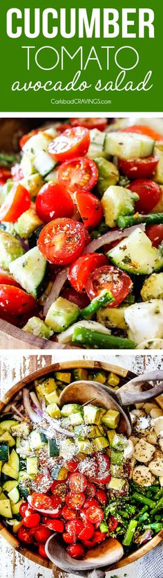 This Cucumber Tomato Salad is bursting with crisp cucumbers, juicy tomatoes, crunchy asparagus, creamy avocados, tangy red onions, and melt-in-your-mouth mozzarella drizzled with tangy Italian Dressing for the ultimate quick, refreshingly delicious spring and summer salad!  via @carlsbadcraving