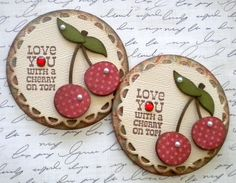 Set of 2 Vintage Tags. Cherry by KindrasCreations on Etsy