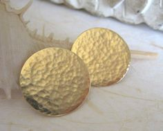 Gold stud earrings, big studs ,gold post earrings, hand forged studs,hammered studs. on Etsy, $59.00