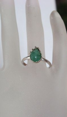 Emerald teardrop Ring  - Birthstone ring - Promise ring -  engagement ring - Silver, vermeil or rose gold - made to order Vintage style by KreativSchmuck on Etsy https://www.etsy.com/listing/464725059/emerald-teardrop-ring-birthstone-ring