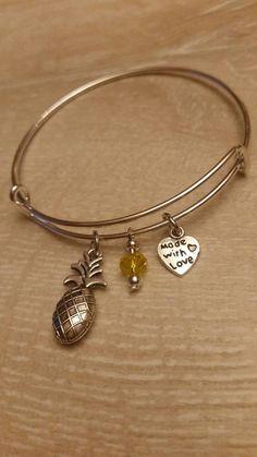 Pineapple Adjustable Bracelet Stacking Bangle by CharmingByNikki