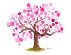 La primavera florece acuarela lámina árbol ilustraciones acuarela arte de la pared