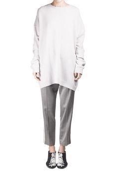 Haider Ackermann Ivory Oversized Sweater With Silk Panel #Shopafar #HaiderAckermann #luxury #fashion #anndemeulemeester #black&white #lace #silk #detail #ss15