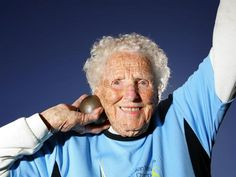100-year-old shot putter Ruth Frith. Now WHAT exactly was that excuse you were about to give me?