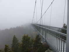 Grandfather Mountain's mile high bridge.Omg I went on this when I went to Blowing Rock and it's so scary!