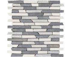 Natuursteen mozaïek Slim Brick wit/grijs 30 x 30 cm