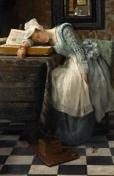 World of Dreams (1876). Lady Laura Theresa Alma-Tadema (English,1852-1909). Oil on canvas.Lady Laura Theresa Alma-Tadema was one of the leading painters of the English salon painting of her day. She was a student and the second wife of Sir Lawrence Alma-Tadema.She specialised in highly sentimental domestic and genre scenes of women and children, often in Dutch 17th-century settings and style.